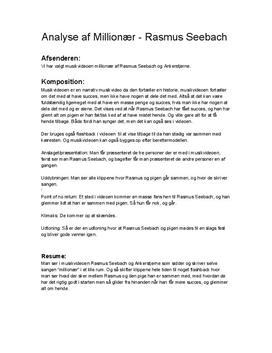 Analyse af Millionær af Rasmus Seebach feat. Ankerstjerne