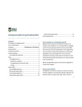Portrætartikel - Model til analyse af portrætartikler