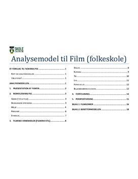 Filmanalyse - Model til analyse af film i Folkeskolen