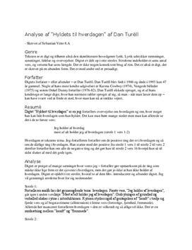 Analyse: Hyldest til hverdagen af Dan Turèll