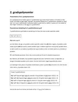 2. gradspolynomier/funktioner og omvendt proportionalitet
