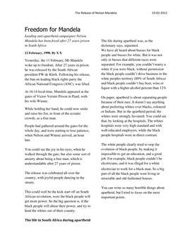 Artikel om Nelson Mandelas løsladelse
