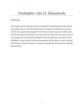 Vindmølleenergi og alternative energiformer - Fysik rapport