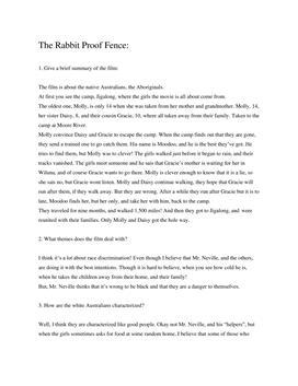 Analyse af filmen: Rabbit Proof Fence