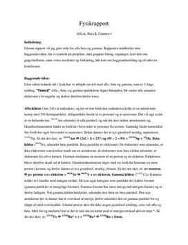 Radioaktiv stråling og svækkelse - rapport