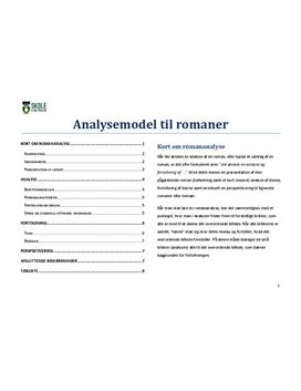 Romananalyse - Model til analyse af romaner i Dansk