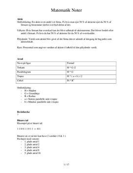 Noter til eksamen i matematik 9. klasse