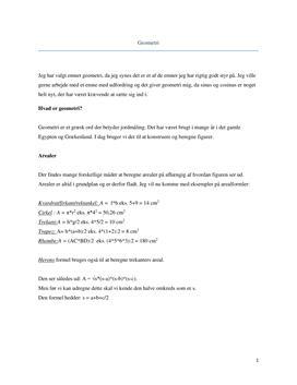 Geometri: Areal, Rumfang og Phytagoras | Noter