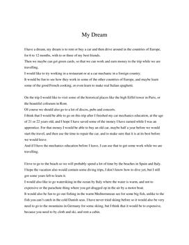 My Dream | Essay