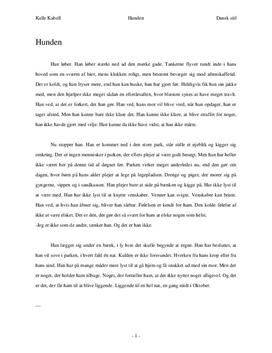 Hunden - selvskrevet novelle i dansk