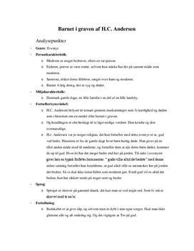 Noter til analyse: Barnet i graven af H. C. Andersen