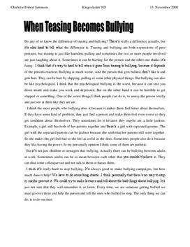 essay om mobning i skolen