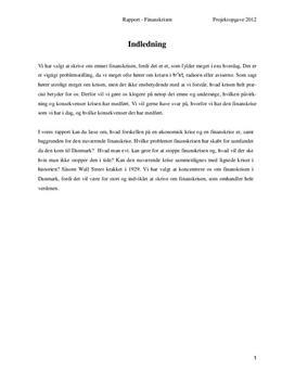 Projektopgave om finanskrisen i Danmark