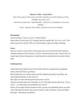 Fagre Nye Verden af Aldous Huxley | Analyse
