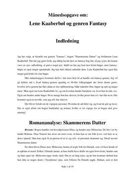Skammerens Datter af Lene Kaaberbøl   Analyse