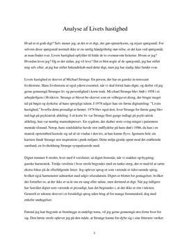 Analyse af Livets Hastighed af Michael Strunge