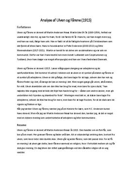 Ulven og Fårene af Martin Andersen Nexø   Analyse