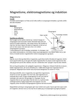 Rapport om magnetisme, elektromagnetisme og induktion