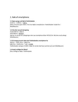 Køb af smartphone | FSA maj 2015 Matematik
