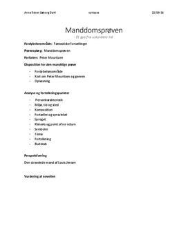 Synopsis og talepapir til Manddomsprøven
